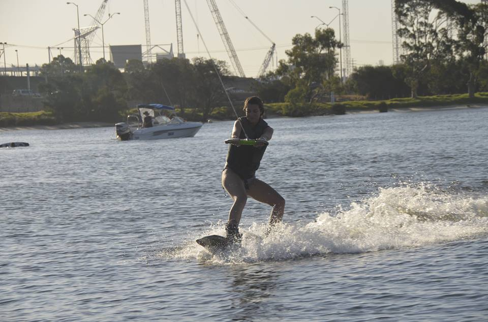 Manon on a wakeboard
